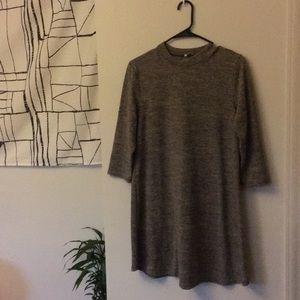 Quarter sleeve, high neck mini dress